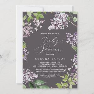 Rustic Lilac   Gray Baby Shower Invitation