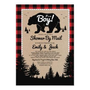 Rustic Lumberjack Baby Shower By Mail Invitation