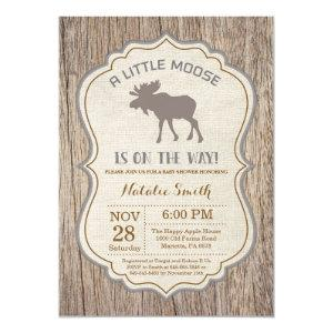 Rustic Moose Baby Shower Invitation