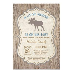 Rustic Moose Baby Shower Invitation Boy