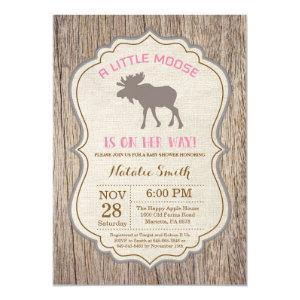 Rustic Moose Baby Shower Invitation Girl