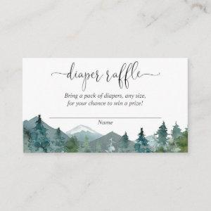 Rustic mountains baby shower diaper raffle cards