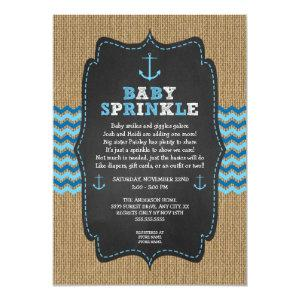 Rustic Nautical baby sprinkle invitations