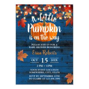 Rustic Navy Barn Autumn Leaves Pumpkin Baby Shower Invitation