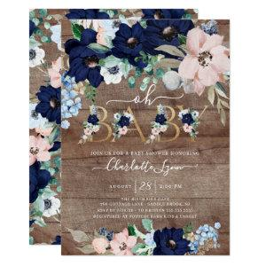 Rustic Oh Baby Navy Blue Blush Floral Baby Shower Invitation