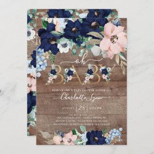 Rustic Oh Baby Navy Blue Blush Floral Baby Shower