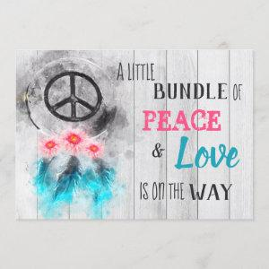 *~* Rustic Peace & Love Hippy Neutral Baby Shower Invitation