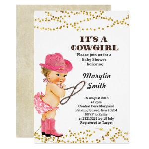 Rustic Pink Cowgirl Baby Shower Girl Invitation