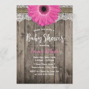 Rustic Pink Daisy Floral White Lace Baby Shower