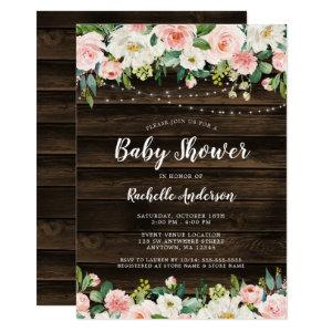 Rustic Pink Floral String Lights Girl Baby Shower Invitation