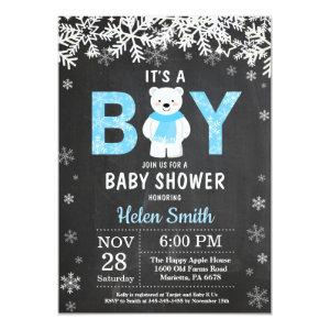 Rustic Polar Bear Winter Boy Baby Shower Invitation