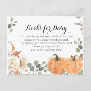 Rustic pumpkin Baby Shower  - Bring a book insert Invitation Postcard