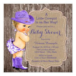 Rustic Purple Cowgirl Baby Shower Invitation