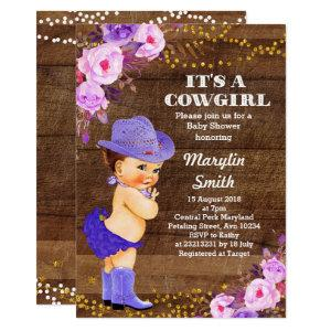 Rustic Purple Cowgirl Baby Shower Lilac Invitation
