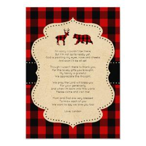 Rustic Red Plaid Buck and Bear poem thank you note Invitation