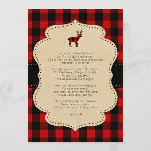 Rustic Red Plaid Buck thank you note with poem Invitation