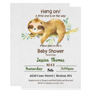 Rustic Sloth Baby Shower Invitation