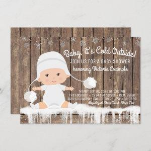 Rustic Snowflake Baby its Cold Outside Baby Shower Invitation