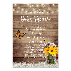 Rustic String Lights Daisy Floral Jar Baby Shower Invitation