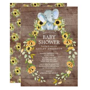 Rustic Sunflower & Baby Elephant Boys Baby Shower Invitation