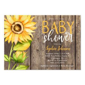 Rustic Sunflower Baby Shower Invitation