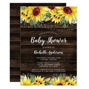 Rustic Sunflower Floral String Lights Baby Shower Invitation