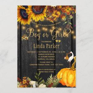 Rustic sunflowers fall baby shower gender reveal