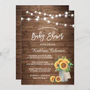 Rustic Sunflowers Mason Jar Lights Baby Shower Invitation