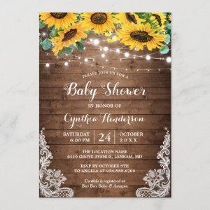 Rustic Sunflowers String Lights Lace Baby Shower