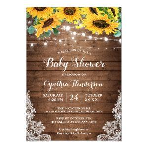 Rustic Sunflowers String Lights Lace Baby Shower Invitation