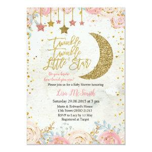 Rustic Twinkle Twinkle Little Star Baby Shower Invitation