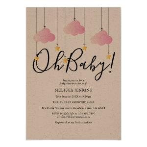 Rustic Twinkle Twinkle Oh Baby Baby Shower Invitation