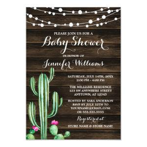 Rustic Watercolor Cactus Barn Wood Baby Shower Invitation