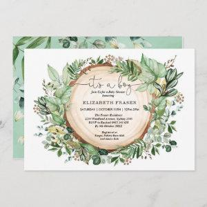 Rustic Watercolor Greenery Forest Boy Baby Shower Invitation