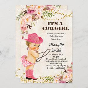 Rustic White Cowgirl Baby Shower Card