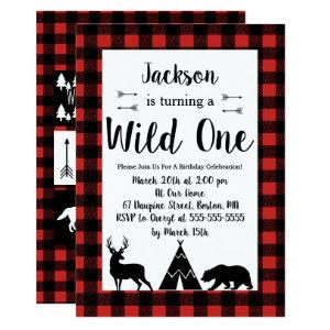 Rustic Wilderness & Animal Plaid Wild One Birthday Invitation