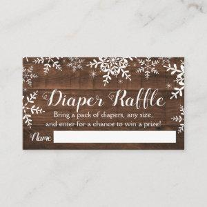 Rustic Winter Baby Shower Diaper Raffle Ticket Enclosure Card