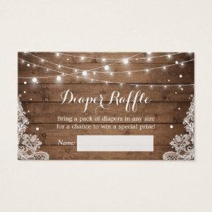 Rustic Winter String Lights Lace Diaper Raffle