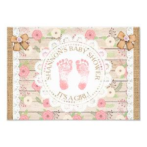 Rustic Wood and Flowers Pink and Tan Baby Shower Invitation