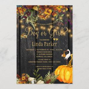 Rustic wood autumn fall baby shower gender reveal