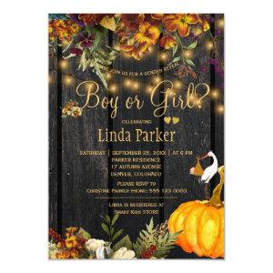 Rustic wood autumn fall baby shower gender reveal invitation