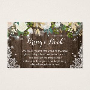 Rustic Wood Floral Baby Shower Book Request Card