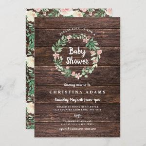Rustic Wood Floral girl baby shower invite