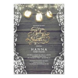 Rustic Wood Lace Mason Jar Lights Baby Shower Invitation