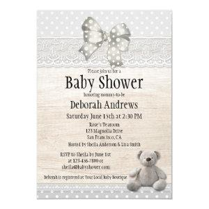 Rustic Wood Lace Teddy Bear Baby Shower Invitation