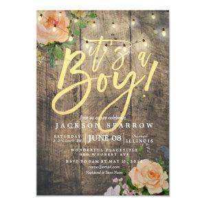 Rustic Wood Roses Floral String Light Baby Shower Invitation