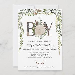 Rustic Wood Slice Greenery Baby Shower Invitation