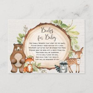 Rustic Woodland animals book request baby shower Enclosure Card
