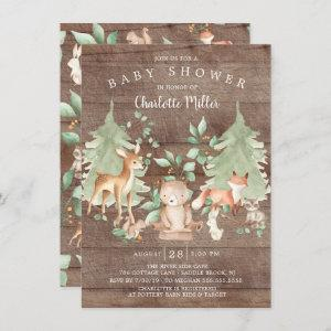 Rustic Woodland Animals Neutral Baby Shower Invitation