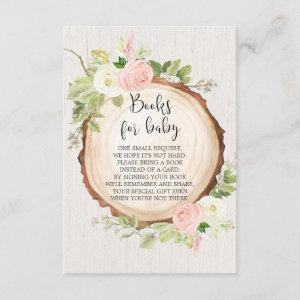 Rustic woodland book request girl baby shower enclosure card